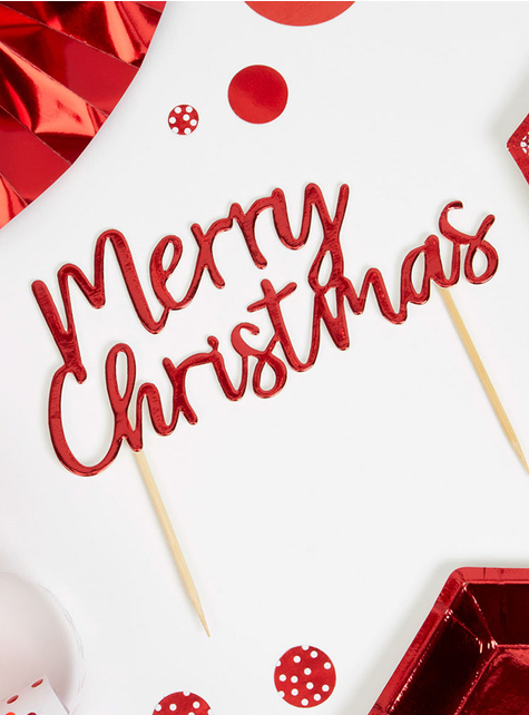 Merry Christmas toppers in red - Red Christmas