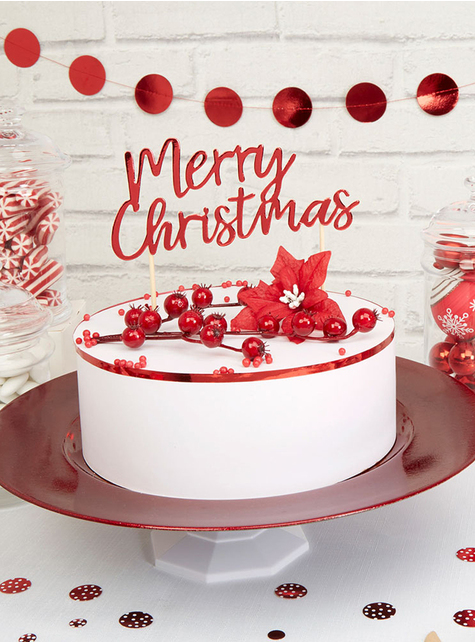Toppers Merry Christmas rojos - Red Christmas