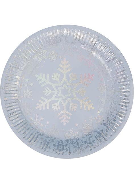 8 sechseckige Schneeflocken Pappteller (23 cm) - Iridescent Christmas
