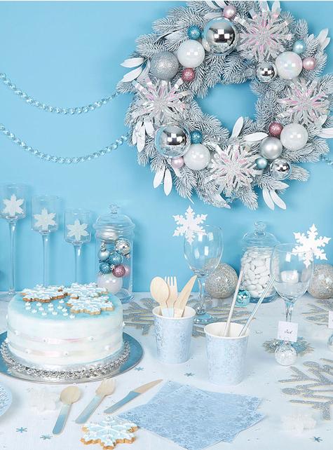 16 servilletas copo de nieve (33 cm) - Iridescent Christmas