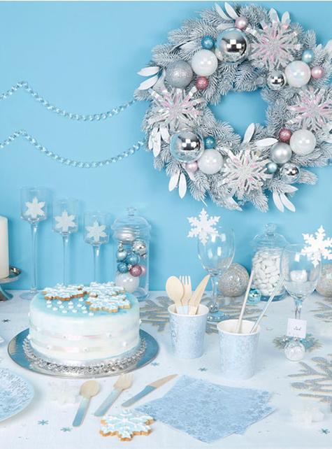 24 couverts flocon de neige en bois - Iridescent Christmas