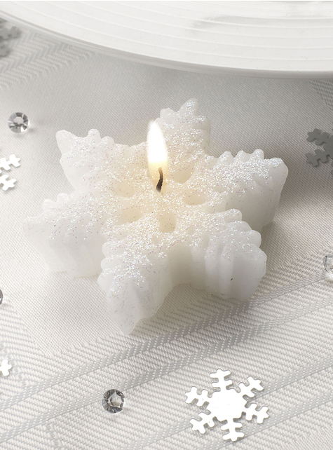 3 snefnugformede stearinlys - Snowflake Collection