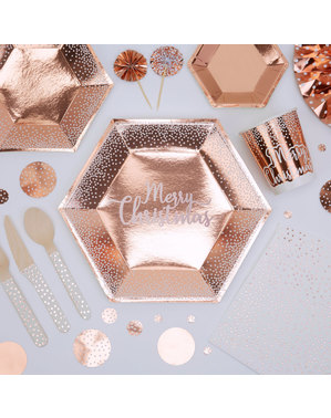8 assiettes hexagonales Merry Christmas rose gold (27 cm) - Pink Christmas