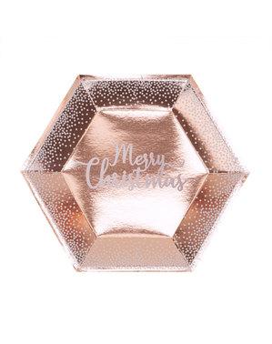 8 pratos hexagonais Merry Christmas ouro rosa (27 cm) - Pink Christmas