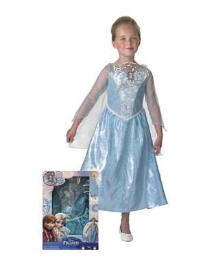 Costum Elsa Regatul de gheață (Frozen) cu lumină și muzică în cutie pentru fată