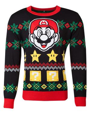 Camisola de Super Mario Bros natalícia para adulto unissexo