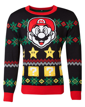 Unisex vianočný sveter Super Mario Bros pre dospelých