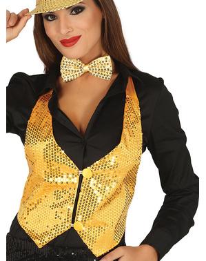 Chaleco de lentejuelas dorado para mujer