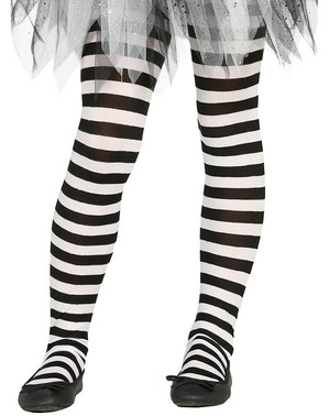 Black and white striped witches tights for girls