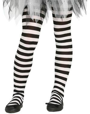 女の子のための黒と白のストライプの魔女タイツ