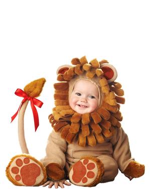 Fato de leão castanho para bebé