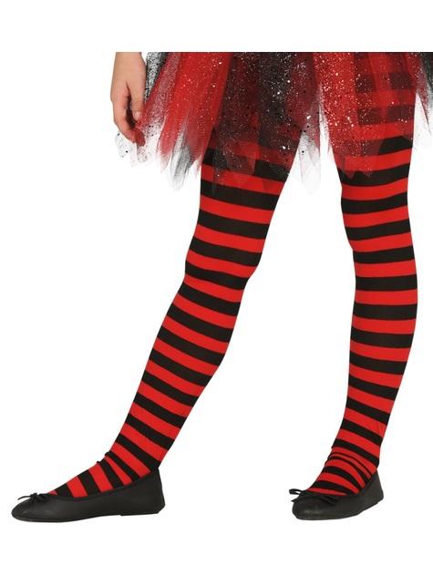 Pantys de bruja de rayas negras y rojas para niña