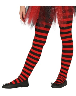 Black and red striped witches tights for girls