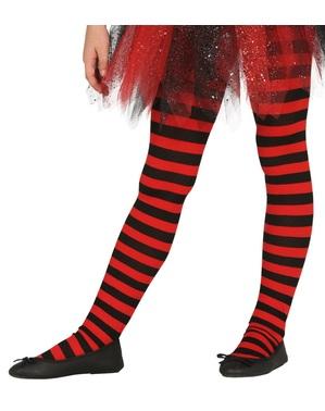Collants de bruxa de riscas pretas e vermelhas para menina