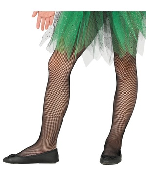 Kids's black fishnet tights