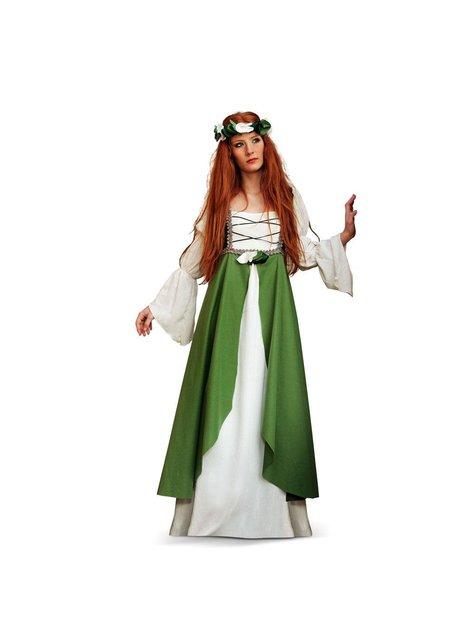 Keskiaikainen Clarissa Vihreä -asu aikuisille