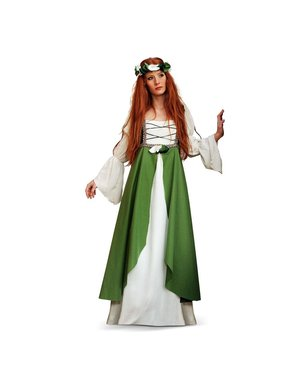 Klarissina från Medeltiden Grön Maskeraddräkt
