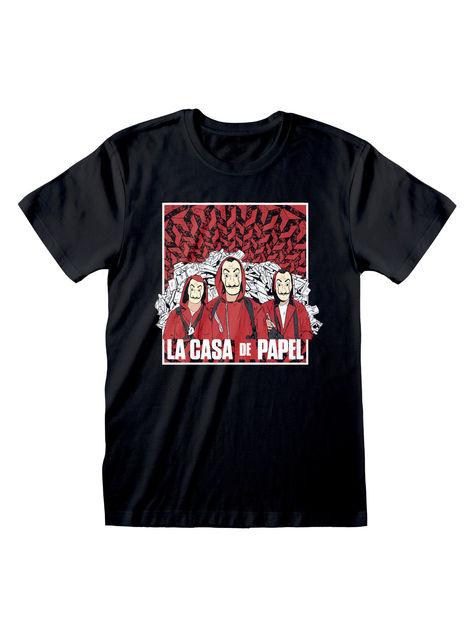 Camiseta La Casa de Papel negra para adulto