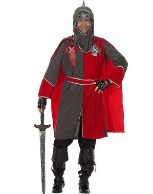 Fato de cavaleiro do Rei Artur cinzento para homem
