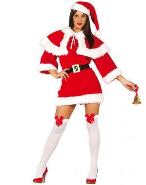 Julemandens kone kostume deluxe til kvinder