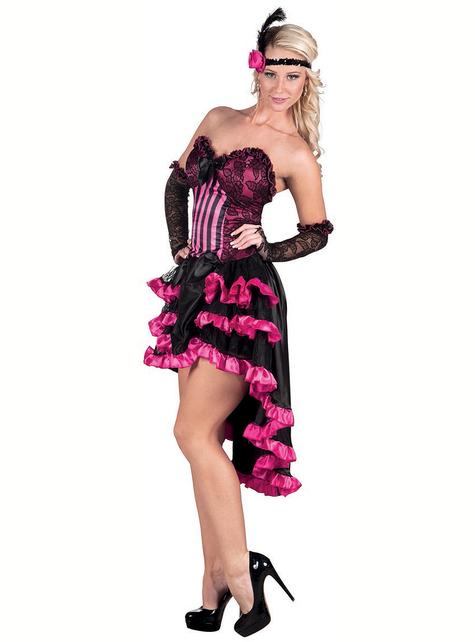 Disfraz de cabaret negro y rosa para mujer