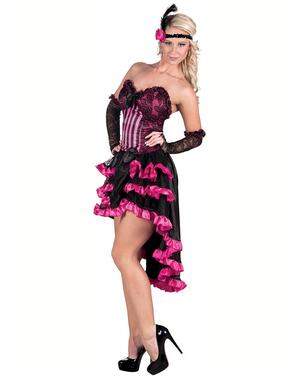Fato de cabaret preto e cor-de-rosa para mulher