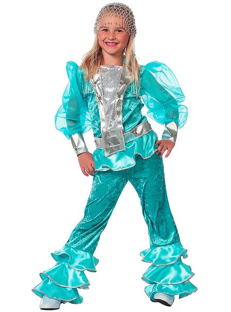 Disfraz de Abba verde años 70 para niña