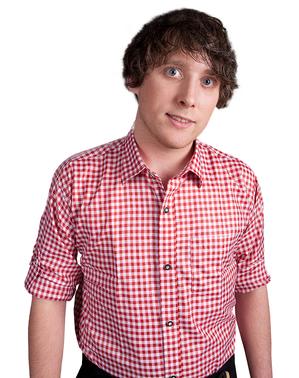 Rød og hvid ternet skjorte til voksne