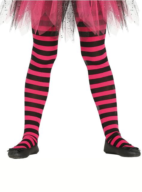 Collants sorcière rayures noires et roses fille