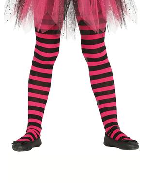 Collants de bruxa de riscas pretas e cor-de-rosa para menina