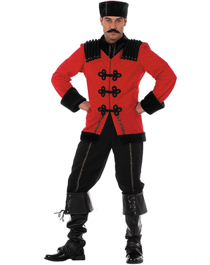 Deluxe red cossack costume for men