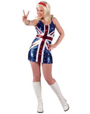 Klänning Glänsande Brittiska flaggan dam