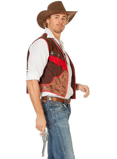 Brown cowboy waistcoat for men