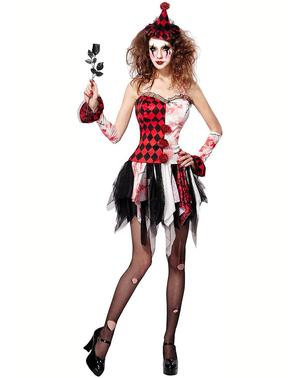Women's Harlequin horror costume
