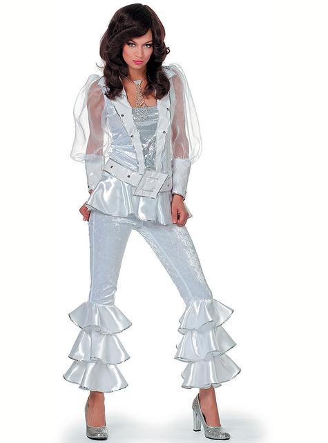 Disfraz de Abba blanco deluxe años 70