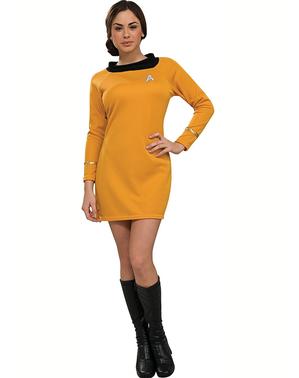 Fato de Star Trek clássico dourado para mulher