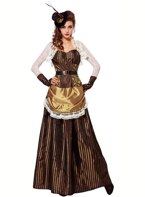 Glänzendes Steampunk Kostüm für Damen