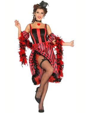 Fato de cancã vermelha e preta para mulher
