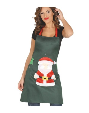 Santa Claus apron in green