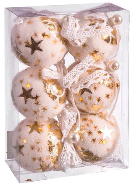 6 roze kerstballen met gouden sterren