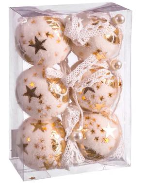 6 pinkkiä joulukuusenkoristetta kultaisilla tähdillä