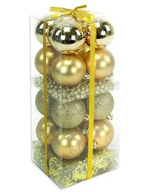 16 boules de noël variées dorées et guirlande