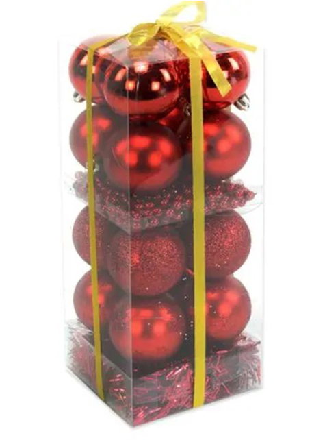 16 bolas de navidad surtidas rojas y guirnalda