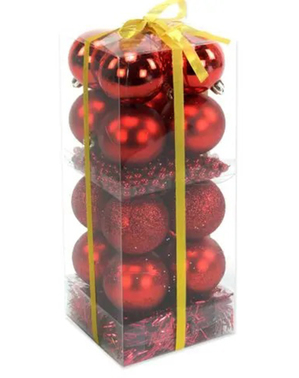 16 Weihnachtskugeln rot gemischt und Girlande