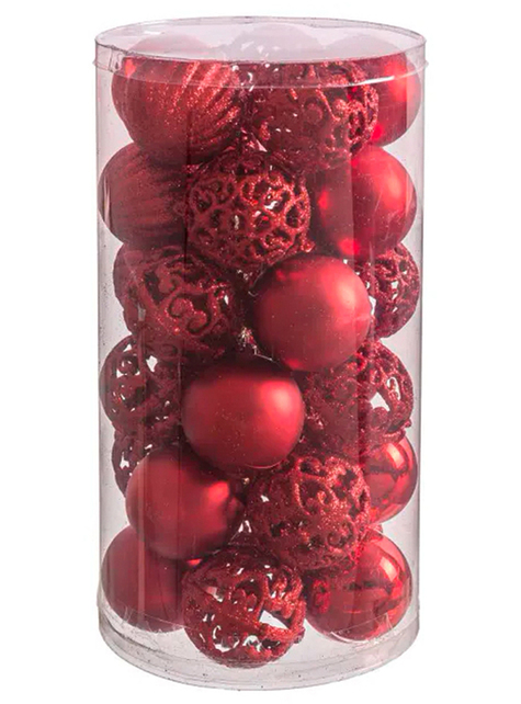 3 assorted red christmas baubles