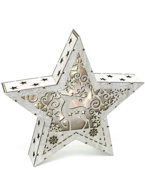 Estrella navideña de madera con luz