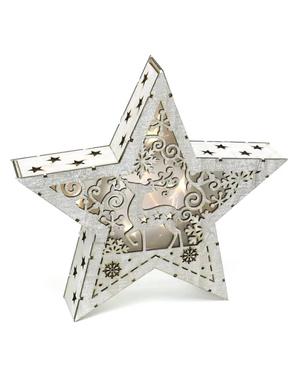 Estrela natalícia de madeira com luz