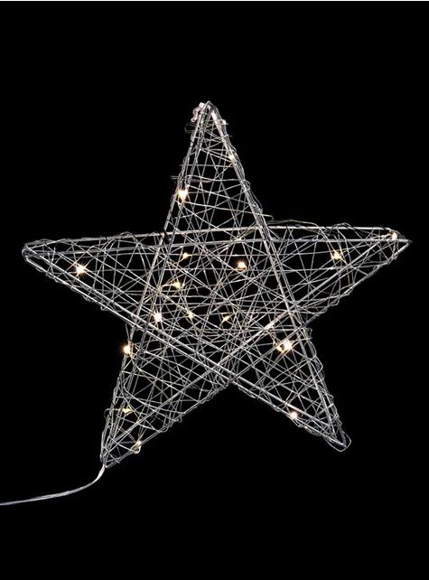Estrella navideña con 20 luces plateada