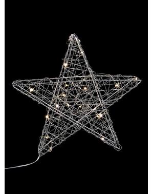 Weihnachtsstern silber mit 20 Lichtern