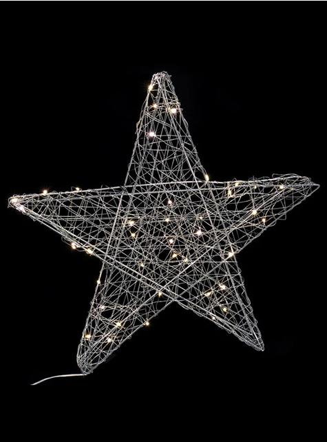 Estrella navideña con 40 luces plateada